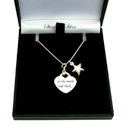 Engraved Sterling Silver Heart Necklace with Star